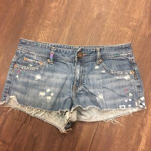 AEO embroidered hearts cutoff jean shorts